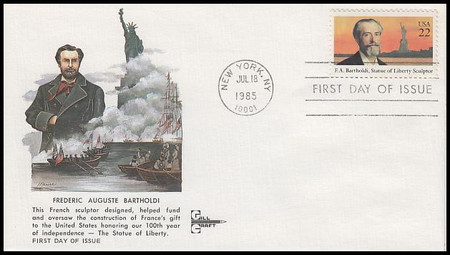 2147 / 22c Frederic Auguste Bartholdi Gill Craft 1985 FDC