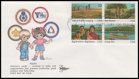 2163a / 22c International Youth Year Se-Tenant Block Gill Craft 1985 FDC