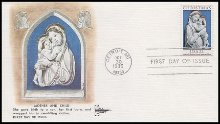 2165 / 22c Madonna and Child : Traditional Christmas Series Gill Craft 1985 FDC