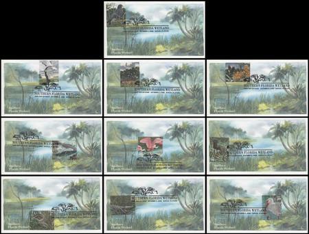 4099a-j / 39c South Florida Wetlands - The Everglades : Nature of America Series Set #2, Set of 10 Edken 2006 FDCs