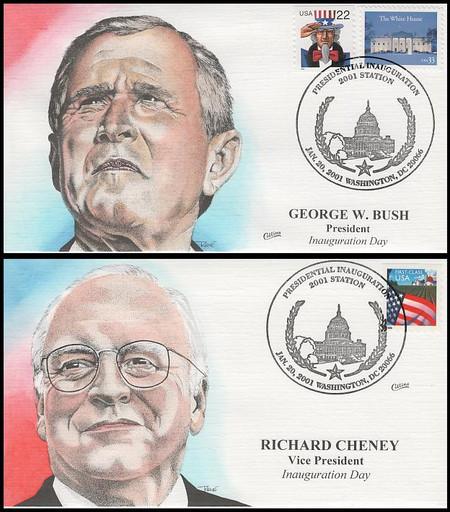 George W. Bush / Richard Cheney 2001 Set of 2 Collins Hand-Painted Inauguration Covers
