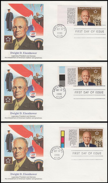 2513 / 25c Dwight David Eisenhower Tab set of 3 Fleetwood 1990 First Day Covers