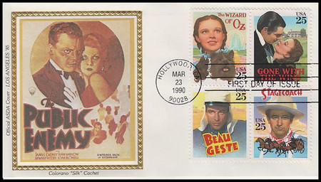 2448a / 25c Classic Films Se-Tenant Block of 4 Hard To Find Set of 6 ASDA Colorano Silk 1990 FDCs