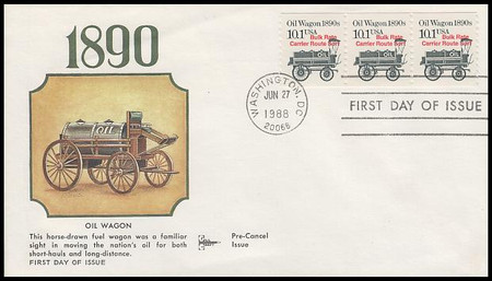 2130a / 10.1c Oil Wagon 1890s Coil / Transportation Series 1988 Gill Craft FDC