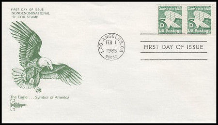 """2112 / 22c Eagle """"D"""" Rate Coil Pair 1985 Gill Craft First Day Cover"""