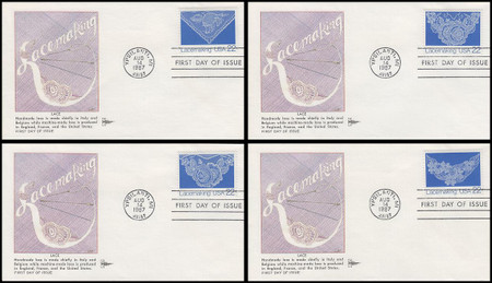2351 - 2354 / 22c Lacemaking Set of 4 : American Folk Art Series 1987 Gill Craft FDCs