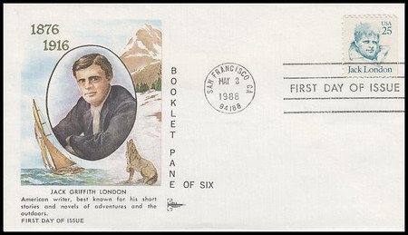 2197 / 25c Jack London : Great Americans Series 1988 Gill Craft FDC