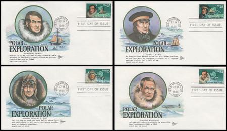 2386 - 2389 / 25c Antarctic Explorers Set of 4 Gill Craft 1988 FDCs