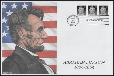 4860 / 21c Abraham Lincoln Oversized Large Format 2014 R. Hoover Printed Limited Edition FDC #1