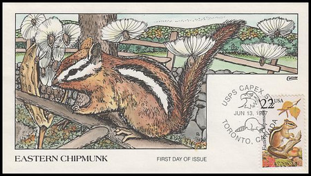 2297 / 22c Eastern Chipmunk 1987 Collins Hand-Painted First Day Cover