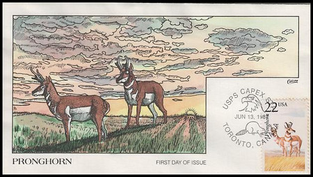2313 / 22c Pronghorn 1987 Collins Hand-Painted First Day Cover