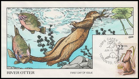 2314 / 22c River Otter 1987 Collins Hand-Painted First Day Cover