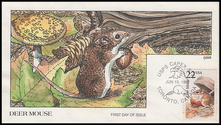 2324 / 22c Deer Mouse 1987 Collins Hand-Painted First Day Cover