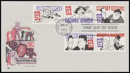 2562 - 2566 / 29c Comedians Strip of 3 and 2 Cover Craft Cachet 1991 FDC With Insert Card