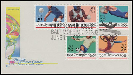 2637 - 41 / 29c Summer Olympics Strip of 3 and 2 Cover Craft Cachet 1992 FDC With Insert Card