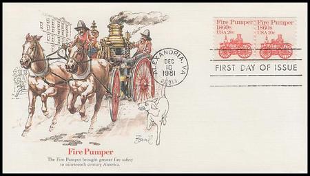 1908 / 20c Fire Pumper : Transportation Series Coil Pair PNC #5 Fleetwood 1981 FDC