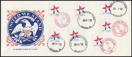3613 / 3c Star Multiple Postmarks 2002 Graebner Chapter #17 First Day Cover