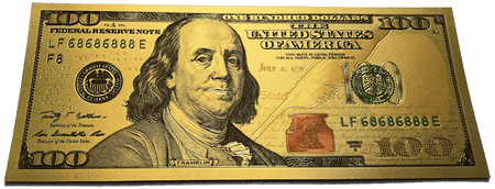 $100 Franklin Colorized Gold Foil Polymer Replica Banknote Series 2009