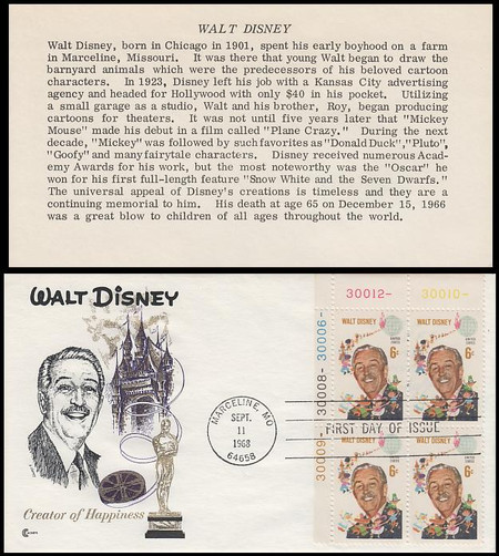 1355 / 6c Walt Disney Plate Block 1968 Cover Craft FDC with Insert Card