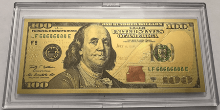 $100 Franklin Colorized Gold Foil Polymer Replica Banknote Series 2009 In Currency Slab
