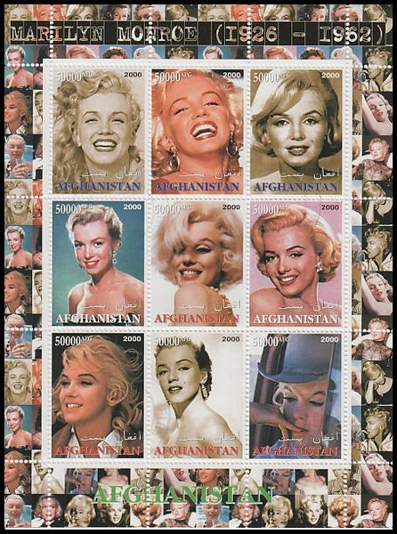 5000 AFG Marilyn Monroe Afghanistan 2000 CTO 9 Stamp Se-Tenant Sheet