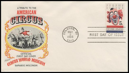 1309 / 5c American Circus : Clown 1966 Fleetwood First Day Cover
