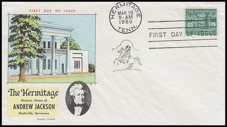1037 / 4½c The Hermitage : Liberty Series (Misaligned Cancel) 1959 Fluegel FDC