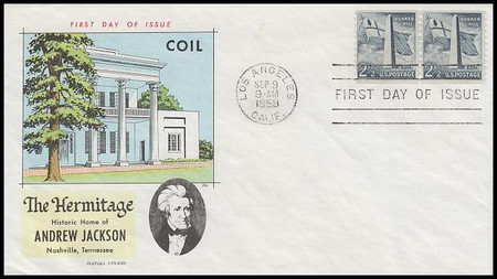 1056 / 2 1/2c Bunker Hill Monument Coil Pair : Liberty Series 1959 Fluegel FDC