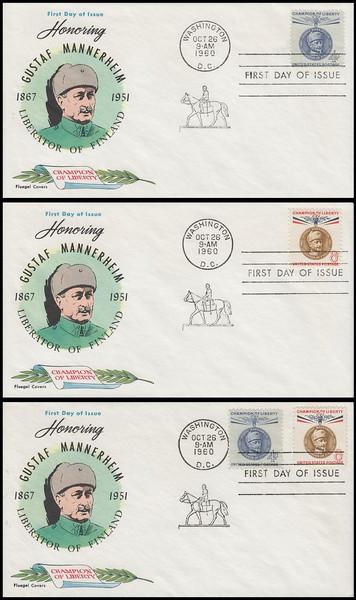 1165 - 66 / 4c Gustaf Mannerheim : Champions of Liberty Series Set of 3 Fluegel 1960 FDCs
