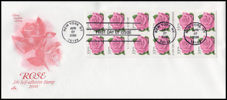 3052E / 33c Coral Pink Rose Booklet Pane of 12 Artcraft 2000 First Day Cover