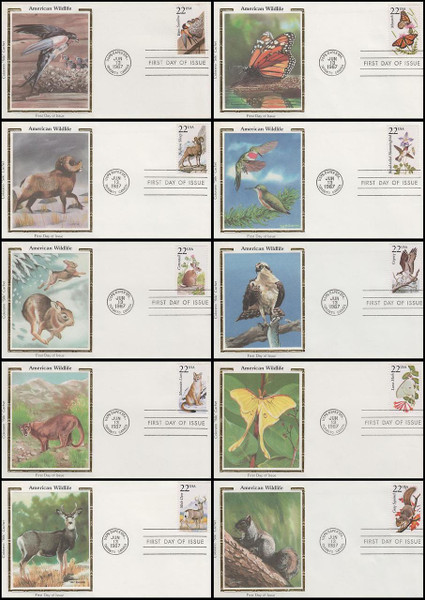 2286 - 2335 / 22c North American Wildlife Set Of 50 Colorano Silk 1987 FDCs