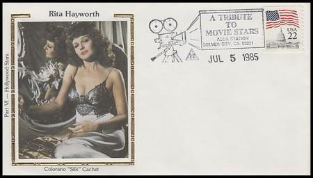 Rita Hayworth : ASDA Tribute To Movie Stars Colorano Silk 1985 Event Cover