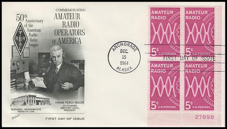 1260 / 5c Amateur Radio Lower Right Plate Block Fleetwood 1964 First Day Cover