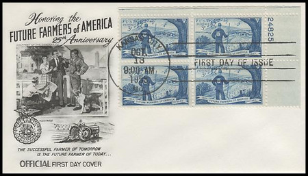 1024 / 3c Future Farmers of America Plate Block Fleetwood 1953 First Day Cover