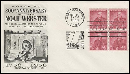 1121 / 4c Noah Webster Block Fleetwood 1958 First Day Cover