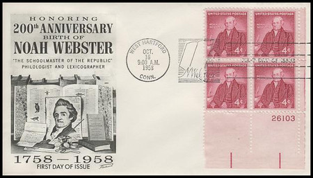 1121 / 4c Noah Webster Plate Block Fleetwood 1958 First Day Cover