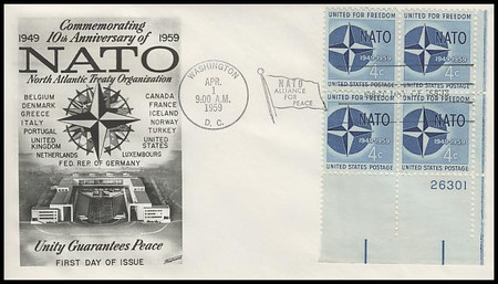 1127 / 4c NATO Plate Block Fleetwood 1959 First Day Cover