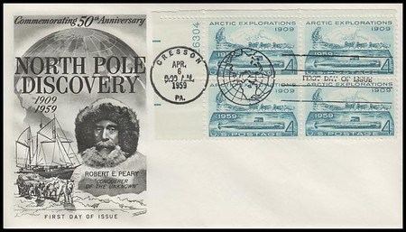 1128 / 4c Arctic Explorations Plate Block Fleetwood 1959 First Day Cover