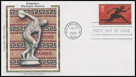 3863 / 37c Summer Olympics 2004 Colorano Silk First Day Cover