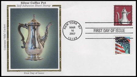 3754 / 3c Silver Coffeepot : American Design Series 2007 Colorano Silk First Day Cover