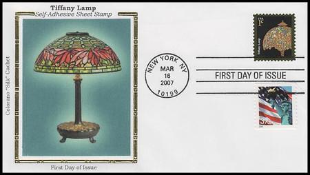 3749 / 1c Tiffany Lamp : American Design Series 2007 Colorano Silk First Day Cover