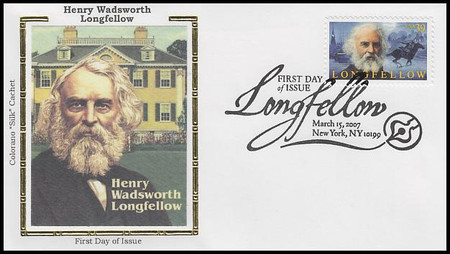 4124 / 39c Henry Wadsworth Longfellow 2007 Colorano Silk First Day Cover