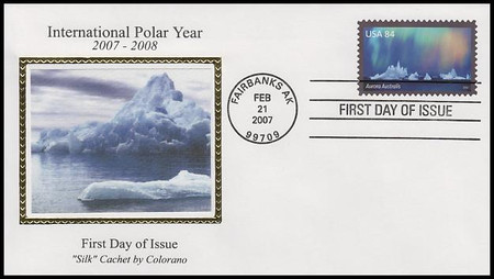 4123a - 4123b / 84c Aurora Borealis and 84c Aurora Australis Set of 2 Colorano Silk 2007 First Day Covers