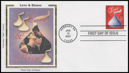 4122 / 39c With Love and Kisses : Love Series 2007 Colorano Silk First Day Cover