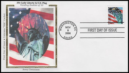 3985b / 39c Flag & Lady Liberty 2006 Colorano Silk First Day Cover