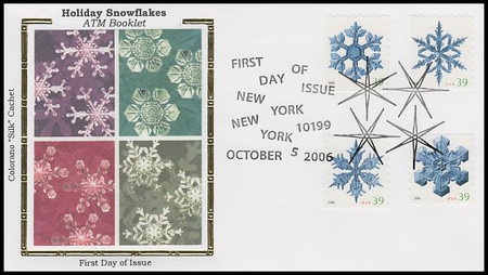 4113 - 4116 / 39c Snowflakes All 4 On One From ATM Bklt 2006 Colorano Silk First Day Cover