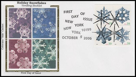 4112a / 39c Snowflakes Vending Booklet : Holiday Celebration Series Block of 4 Colorano Silk 2006 FDC