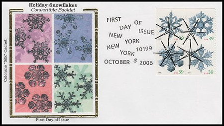 4108a / 39c Snowflakes Convertible Booklet : Holiday Celebration Series Block of 4 Colorano Silk 2006 FDC