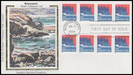 3864 / Non-Denominated (5c) Sea Coast PSA : 2 Coil Strips Of 4 Colorano Silk 2004 FDC