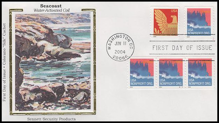 3864 / Non-Denominated (5c) Sea Coast PSA : Single and PNC Coil Strips Of 3 with PNC #S1111 Colorano Silk 2004 FDC